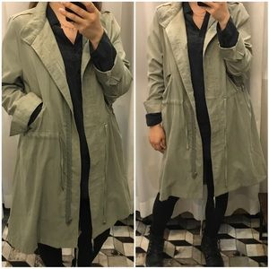 Olive green long duster jacket